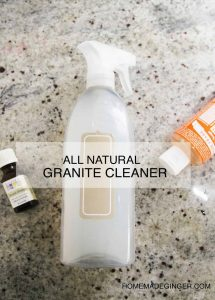 Cleaning your granite tops with the homemade cleaner. It will leave your counter tops looking clean and sparkling