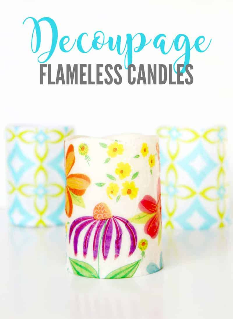 Decoupage Candles from the dollar store. Dollar store hacks to try today!