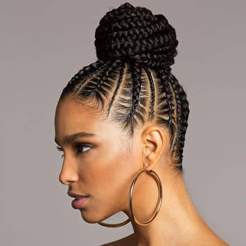 Cornrow bun braids. How to Do a Braided Bun With Cornrows, get the full tutorial here #braids #protectivestyle