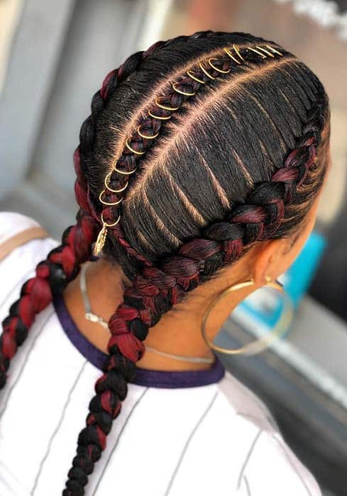Double Dutch Braids for natural hairstyle.