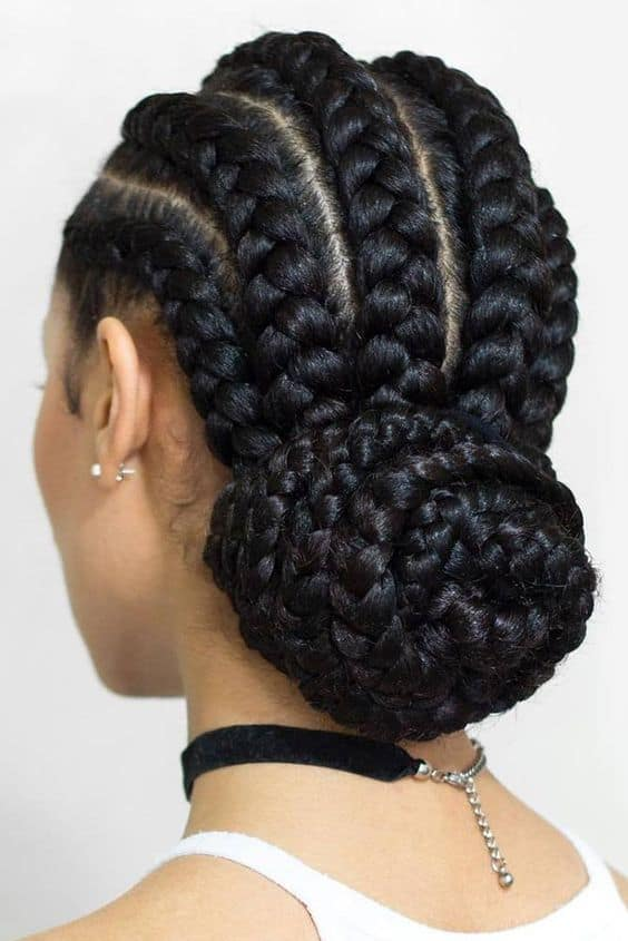 Jumbo cornrow braids and bun.