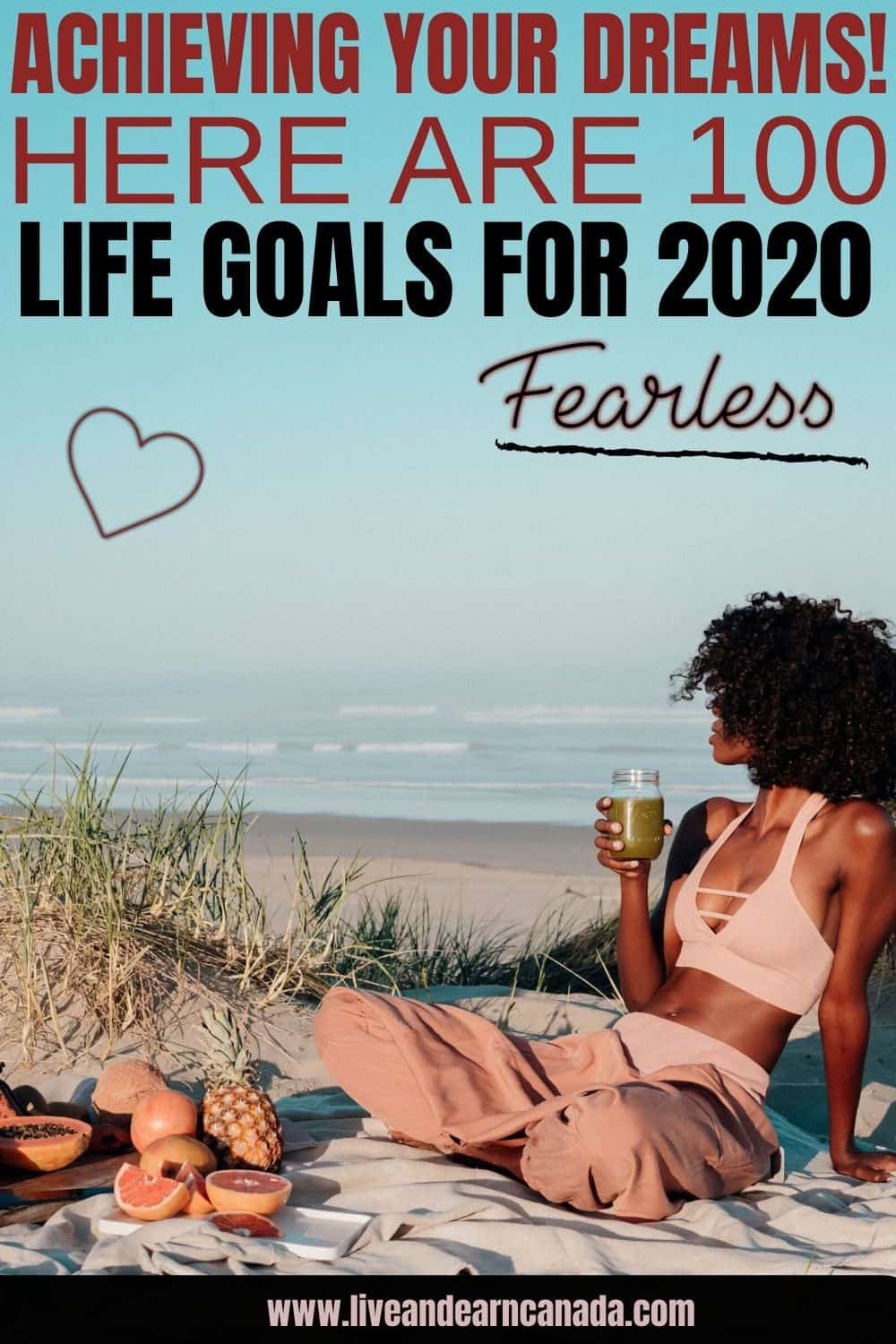 100 life goals and dreams-the ultimate list. Health/Fitness Goals. Financial Goals. Career/Professional Goals. Travel/Adventure Goals & more! Use this list of life goals to motivate yourself toward accomplishing your personal best. #100goals #lifegoals