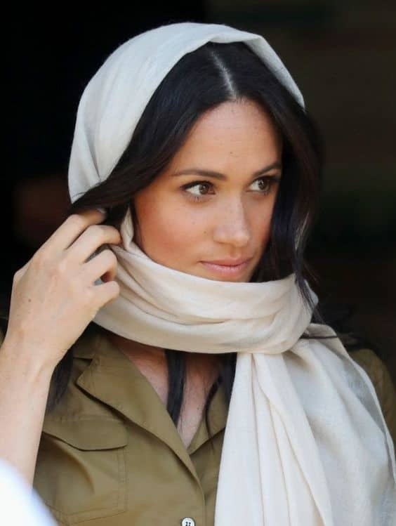 Meghan Markle wearing a headscarf with Style!