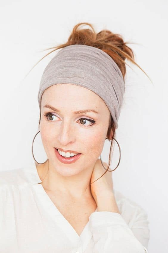Check out these yoga head band styles. Taupe HeadWrap - Fitness Headband Yoga Headband Wide Headband Workout Headband Shabby Chic Boho Headband Tube Headband Womens Headband Finds by MinitaStudio #yogabands