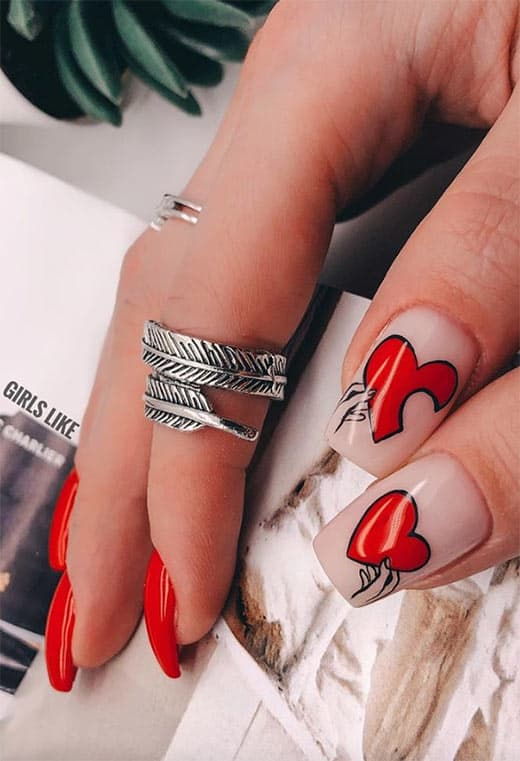 Cute Valentine's Day Nail Ideas! Cute Valentine's Day Nail Ideas to consider for this Valentine's Day! These nail art ideas are full of pinks, reds, heart, and love. Fun ways to do your nails for Valentine's Day