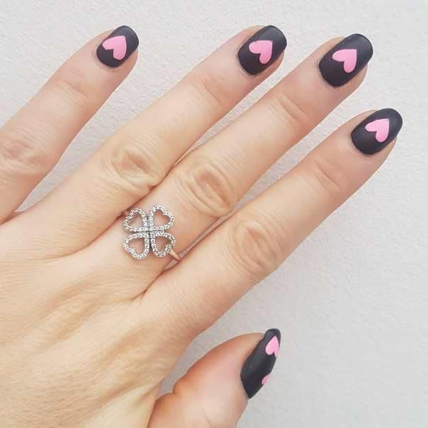 Pink hearts black nail design. Surprise your lover by choosing your favorite nail design among these 21 cute valentine's day nail art ideas (including hearts and roses nail designs).
